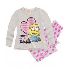 Pyžamo dievčenské s dlhým rukávom Mimoni šedé