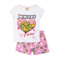 Mimoni pyžamo s krátkym rukávom bielo-ružové