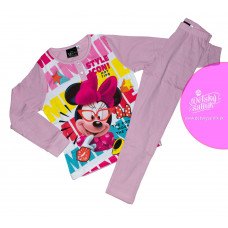 Dlhé dievčenské pyžamo Disney Minnie bledo-ružové