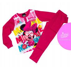 Dlhé dievčenské pyžamo Disney Minnie tmavo-ružové