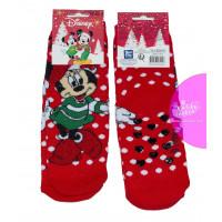 Dievčenské vianočné ponožky Disney Minnie červené