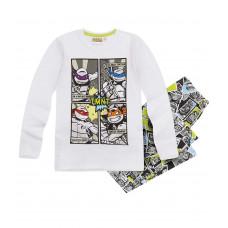 Pyžamo dlhé chlapčenské Ninja Korytnačky biele