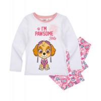 Dievčenské dlhé pyžamo Paw Patrol biele
