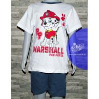 Chlapčenské letné pyžamo Paw Patrol Marshall biele