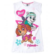 Dievčenská letná nočná košeľa Paw Patrol biela