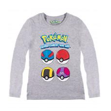 Tričko Pokémon s dlhým rukávom šedé