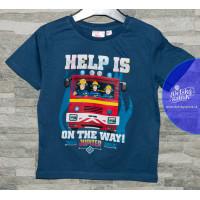 Chlapčenské letné tričko tmavo modré Požiarnik Sam s autom