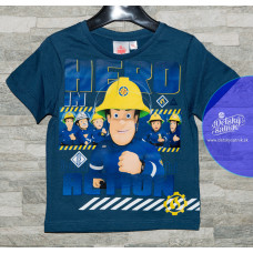 Chlapčenské letné tričko tmavo modré Požiarnik Sam