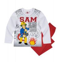 Chlapčenské pyžamo dlhé Požiarnik Sam biele