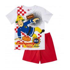 Chlapčenské pyžamo letné Požiarnik Sam biele