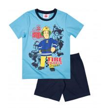 Chlapčenské pyžamo letné Požiarnik Sam modré