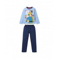 Dlhé pyžamo chlapčenské Požiarnik Sam bledo modré