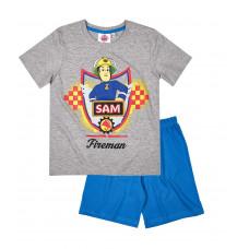 Chlapčenské pyžamo letné Požiarnik Sam šedé