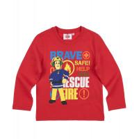 Tričko Požiarnik Sam s dlhým rukávom červené