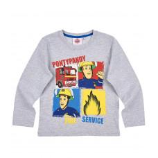 Tričko Požiarnik Sam šedé s dlhým rukávom