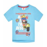 Chlapčenské letné tričko Požiarnik Sam bledo modré