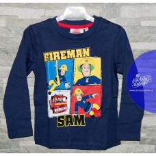 Tričko Požiarnik Sam tmavo modré s dlhým rukávom