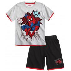 Chlapčenský letný set Spiderman sivo-čierny