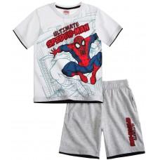 Chlapčenský letný set Spiderman bielo-sivý
