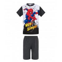 Chlapčenské letné pyžamo Spiderman bielo-šedé
