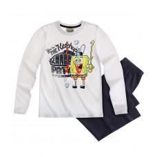 Pyžamo chlapčenské Spongebob s dlhým rukávom biele