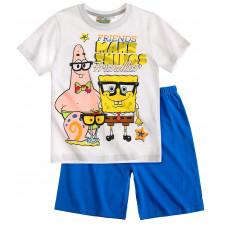 Chlapčenské letné pyžamo Spongebob biele-svetlo modré