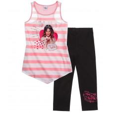 Dievčenský letný Top a leginy Disney Violetta ružovo-čierna